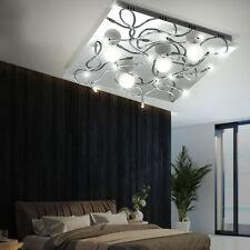 Luxus Decken Halogen Leuchte quadratisch Essbereich IP20 Glas Kugel Chrom Diele