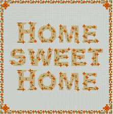"Gold Home Sweet Home Counted Cross Stitch Kit 8"" x 8"" 20cm x 20cm S2207"