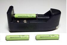 Three AAAA, Rechargeable, Ni-MH, 1.2V batteries w. Universal AAAA AAA AA Charger