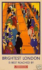 London Underground Poster 1924 Tube Railway Subway Escalator,12x7 Inch Reprint
