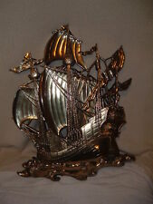 "Pair Antique Sailing Pirate Ship Wall Plaque Homco 29"" Vintage Retro 1968 Large"