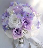 17 pieces Wedding Bridal Bouquet Flowers Decoration Package Bride LAVENDER WHITE