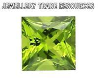 Natural Green Peridot 6mm x 6mm Square Princess Cut Gem Gemstone