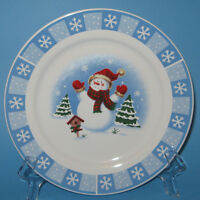 Merry Brite SNOWMAN Salad Plate (s) Winter Holiday Christmas Blue