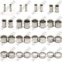"""V002 Steel Double Flare Saddle Flesh Tunnels Earlets Plugs Gauges 10G to 2"""" PAIR"""