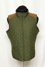 CHAPS Denim Diamond Quilted Army Green w/ Faux Suede Hunting Style Vest Sz 1X