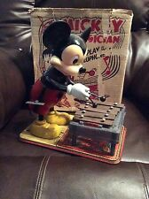 1950s Marx WDP Walt Disney Tin Toy  Mickey Mouse Xylophone Wind Up in box