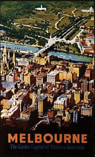 "AUSTRALIA: Historical travel poster,""MELBOURNE"", by Fay Plamka [1993]"