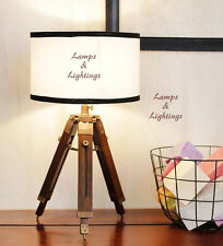 Designer Contemporary Wood Table Side Lamp Tripod Desk Electric Light Home Decor