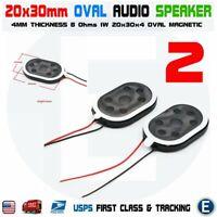 2pcs Speaker Oval 20x30mm Dia 8 Ohm 1W 2-Wire Mini Micro Audio Magnetic Arduino