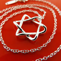 Necklace Chain Genuine Real 925 Sterling Silver S/F Girls Star Pendant Design