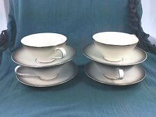 4 Sets Cups & Saucers (8pc) Platinum Rosenthal Elegance China Silver Gray