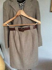 Beige/Brown Herringbone Business Jacket & Skirt, Size 10