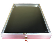 Aluminum Display Case End Opening 22 x34x 31/4 Knives Cards Gun with BLACK LINER