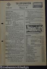 Telefunken Werkstattanleitung  Opus 9 1958/59 Service Manual