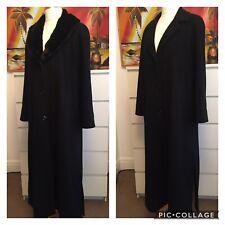 Ladies Long Maxi Wool Cashmere Black Winter Coat Overcoat Detachable Fur 18 VTG