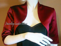 Burgundy/Dark Red Satin Bolero/Shrug/Jacket/Stole/Wrap/Tippet/Shawl 3/4 New