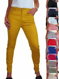 "Womens High Waist Jeans Stretch Chino Sheen Slim Leg Full Length 30"" 10-20"