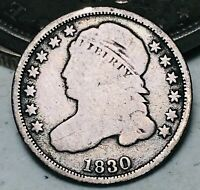 1830 Capped Bust Dime 10C Ungraded Large 10C Good Date 90% Silver US Coin CC5601