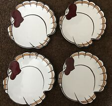 Pottery Barn - Set of Four Gobble Plates in Wooden Box - Used Condition