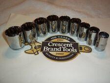 New Crescent Hand Tools 9pc 1/2 Dr Sae Standard 12pt ratchet wrench socket set