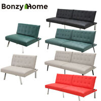 Futon Sofa Bed Premium PU Leather Modern Style Convertible Living Room Loveseat