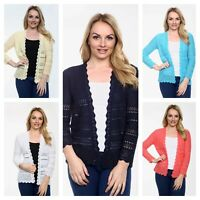 New Ladies Women Lace Long Sleeve Knitted Light Weigh Spring Jacket Cardigan