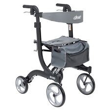 Drive Medical NITRO Tall Euro-style Aluminum Rollator Black - 10 Inch Casters