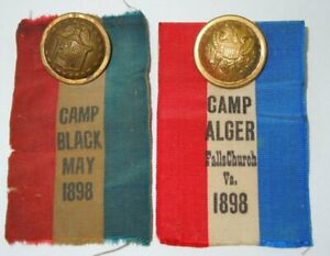 Spanish American War SAW 1898 Buttons Ribbons Army Camp Alger & Camp Black #46