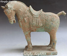 """11"""" Fine Chinese Bronze Ware Stand Zodiac Year Tang Horse Horses Animal Statue"""