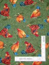 Farm Rooster Bird Hen Chicken Cotton Fabric QT Bershire Farm Liz Dillon - Yard