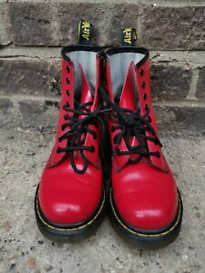 Dr Martens 1460 Pascal 8 Hole Boots Cherry Red Shiny Punk Size 3 36