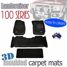 To suit Toyota Landcruiser 100 series 1998 - 2007 Black Carpet 3D Car Floor Mats