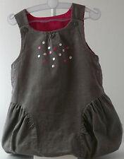 E & E Robe à bretelles velours fin côtelé grise doublée rose fille 3 mois