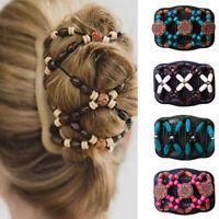 KE_ Women Vintage Magic Wooden Stretchy Double Clips Hair Slide Comb Headwear