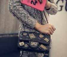 Women Quilted Leather Shoulder bag Messenger Chain handbag metal badge  Bag