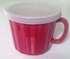 Bradshaw Red Stoneware Soup Mug W/ Lid Oven Dishwasher Microwave Safe