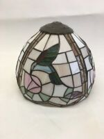 """LOVELY 1970s Vntg 12"""" Tiffany Style Slag Stained Glass Floral Lamp Shade"""