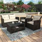 4pcs Patio Furniture Set Outdoor Garden Cushions Rattan Chair Sectional Sofa Set