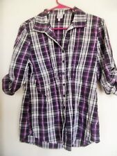 Bongo Purple White Black Gray Plaid Button Down Shirt Size L