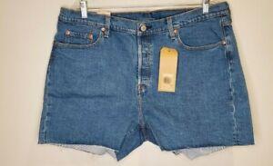 NEW Levi's Size 18W Women's Shorts 501 High Rise Cut Off Blue Denim