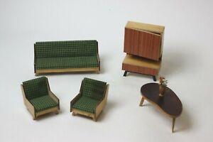 German Dollhouse Miniature Living Room Set by Fritz Altmann, MCM, Germany