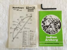 Vintage Indian Archery Owners Manual for Hawkeye Compound Bow Model # A2400