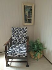 More details for 1940s wooden utility reclining steamer chair with newly upholstered cushions