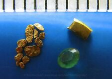 (Us) 1 authentic emerald+12 gold nugget 0.6-1.5mm+1 gold bullion 999