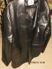 COLLEZIONI BLACK FAUX LEATHER MENS JACKET COAT MADE IN ITALY TRENCH COAT