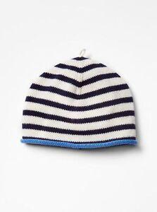 GAP Baby Boys Size Newborn NWT Blue / White Nautical Striped Sweater Beanie Hat