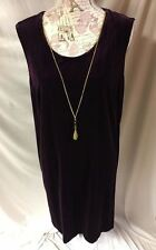 R & M Richards Purple Velvet Gold Tone Attached Necklace Holiday Party Dress 18