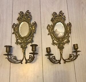 * PAIR FRENCH 19th CENTURY MIRROR WALL SCONCES CANDLE HOLDERS  WITH CHERUBS *