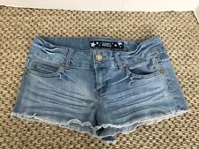 Celebrity Pink Light Blue Distressed Jean Shorts with Pockets Size 3